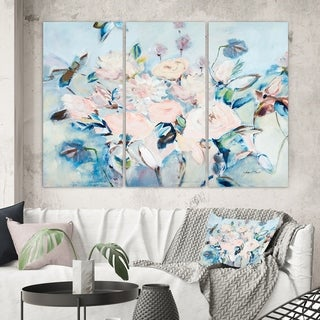 Designart 'Abstract Pink Flowers Farmhouse Waterpainting ' Farmhouse Canvas Wall Art