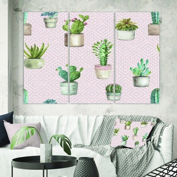 Designart 'Potted Cactus on Pink Geometrical Pattern' Cottage Canvas Wall Art