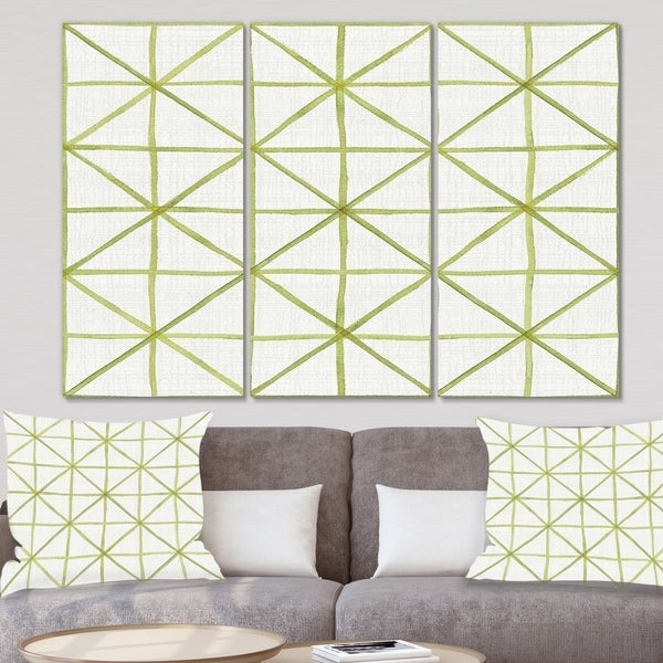 Designart 'geometric Green Triangle II' Mid Century Modern Transitional Gallery-wrapped Canvas