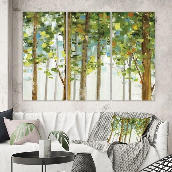 Designart 'Green Forest Study' Modern Farmhouse Canvas Artwork
