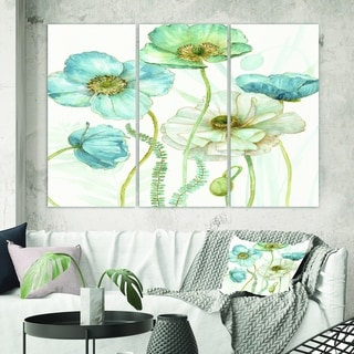 Designart 'Blue Cottage Flowers Drawing II' Farmhouse Canvas Artwork
