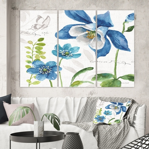 Designart 'Blue Columbine Flowers With Butterfly' Cabin & Lodge Canvas Artwork