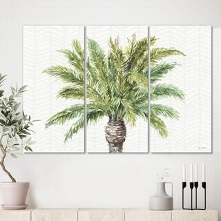 Designart 'Mixed Botanical Greens palms IV' Farmhouse Canvas Art