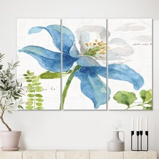 Designart 'Blue Columbine Wild Flower with Ferns' Cabin & Lodge Canvas Wall Art