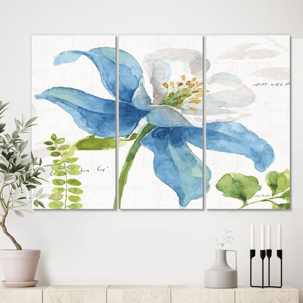 Designart 'Blue Columbine Wild Flower with Ferns' Cabin & Lodge Canvas Wall Art