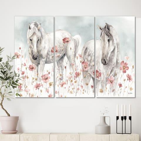 Designart 'watercolors Pink Wild Horses ' Farmhouse Canvas Wall Art