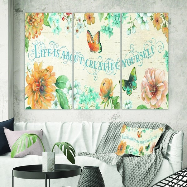 Designart 'Butterfly Bloom lovely Quote' Farmhouse Canvas Wall Art