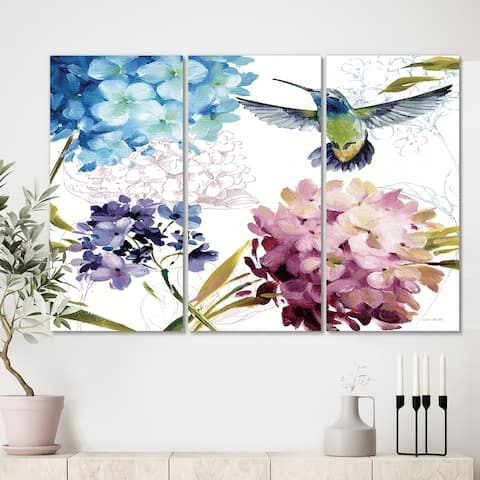 Designart 'Humming bird Blue Cottage Flower' Farmhouse Canvas Artwork