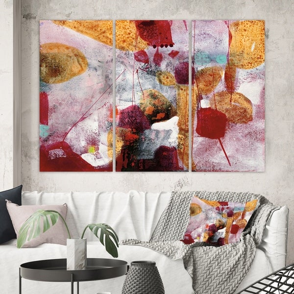 Designart 'Abstract Watercolor with Red and Yellow' Contemporary Canvas Artwork