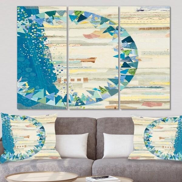 Designart 'The Calm Indigo Stripes' Modern Canvas Wall Art