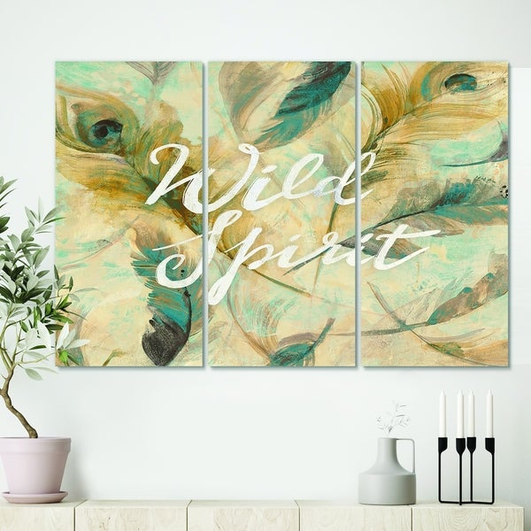 Designart 'Wild Spirit Blue And Cream Cottage Feathers' Farmhouse Canvas Art