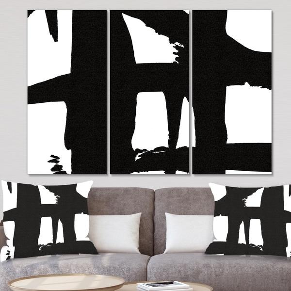 Designart 'Black & White Crossing Paths II' Modern Canvas Artwork