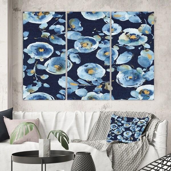 Designart 'Indigold metallic Flower Pattern' Floral Canvas Wall Art