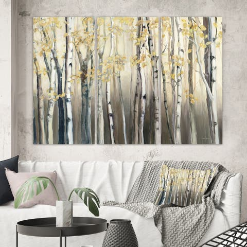 Porch & Den Golden Birch Forest I' Canvas Wall Art