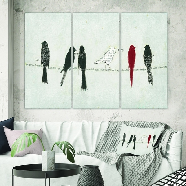 Designart 'Red Catching Up Bird Family' Farmhouse Canvas Art