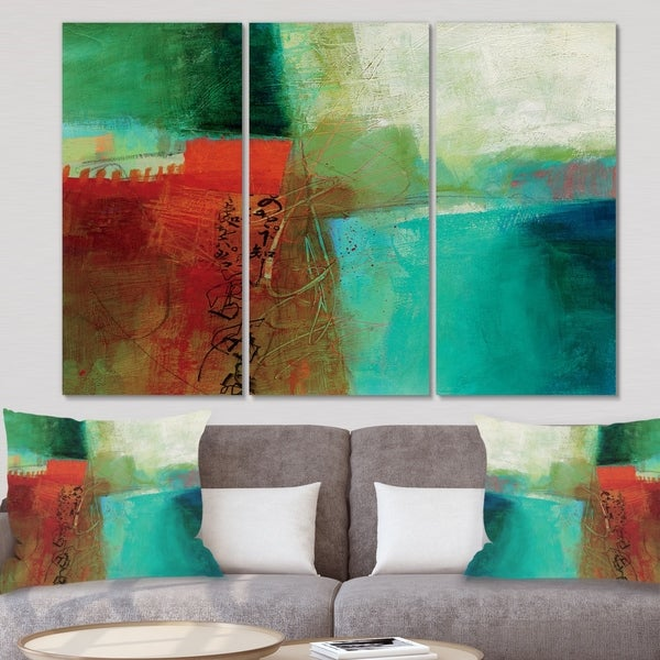 Designart 'Abstract Impression Of Watercolor Blue And Red' Contemporary Canvas Wall Art