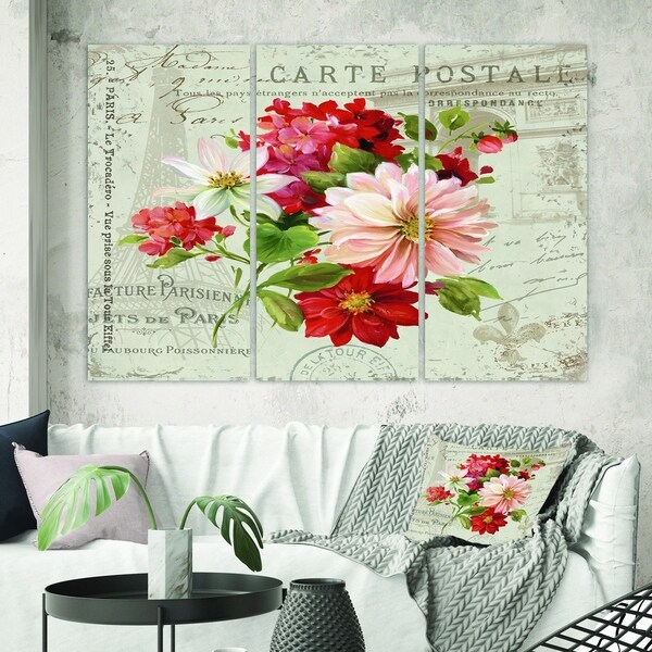 Designart 'Red Painted Flowers on Vintage Postcard II' Farmhouse Gallery-wrapped Canvas