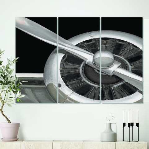 Carbon Loft 'Travel by Air Grey Plane' Vintage Transportation Canvas Wall Art
