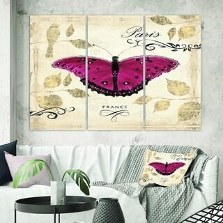 Designart 'Red Farmhouse Butterfly' Farmhouse Canvas Wall Art