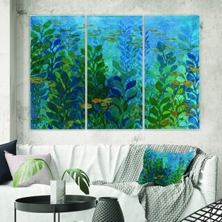 Designart 'Blue Underwater Lake leaves II' Nautical & Coastal Gallery-wrapped Canvas