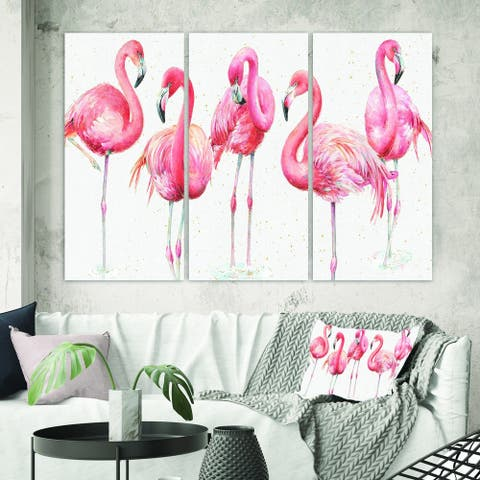 Porch & Den Gracefully Pink Shabby Flamingo' Canvas Wall Art