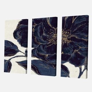 Designart 'Dark Rose Gilded Gold' Floral Canvas Artwork