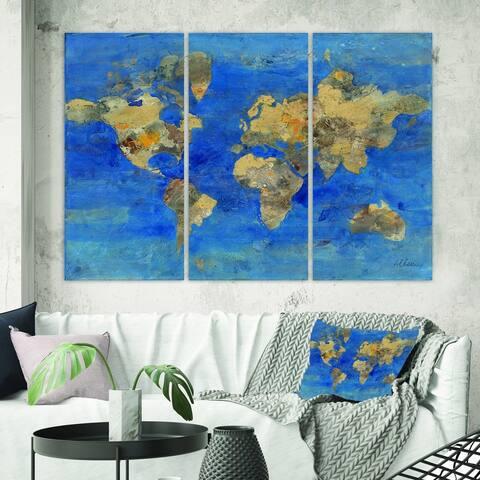 Designart 'Golden Blue World Map' Glam Canvas Wall Art