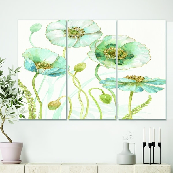 Designart 'Blue Cottage Flowers Drawing I' Farmhouse Gallery-wrapped Canvas