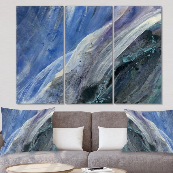 Designart 'Black And Blue Abstract Water Painting' Contemporary Gallery-wrapped Canvas