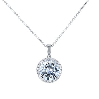 Annello By Kobelli 14k Gold Round 3 10ct Forever One Moissanite And 1 4ct Lab Grown Diamond Halo Necklace DEF VS