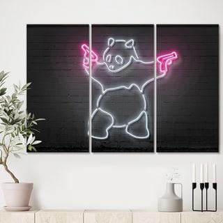 Designart 'Bad Panda' Modern Canvas Wall Art - 36x28 - 3 Panels