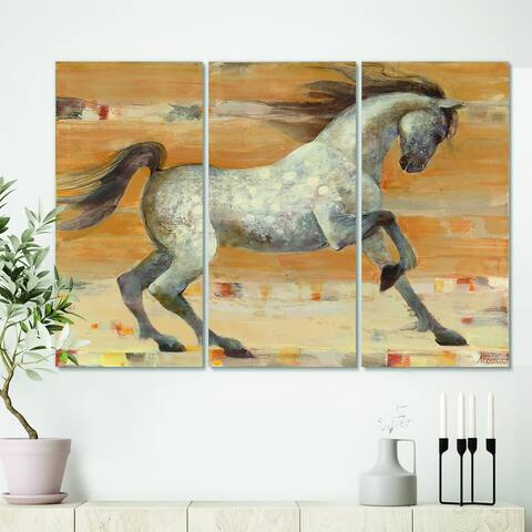 Designart 'southwest Beige Horse' Modern Farmhouse Gallery-wrapped Canvas