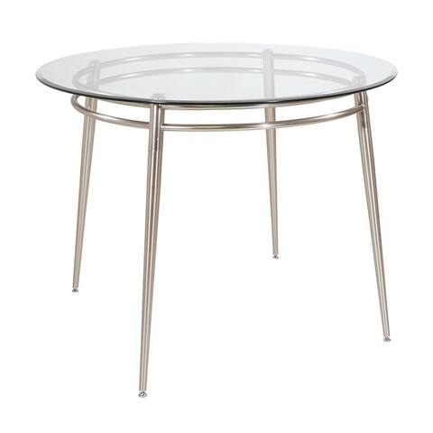 Brooklyn Glass top Round Dining Table - Grey