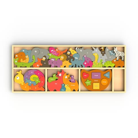 BeginAgain Barlowe's Learning Box - Shapes & colors, Color Puzzle, Number Puzzle and Animal Parade Alphabet Puzzle