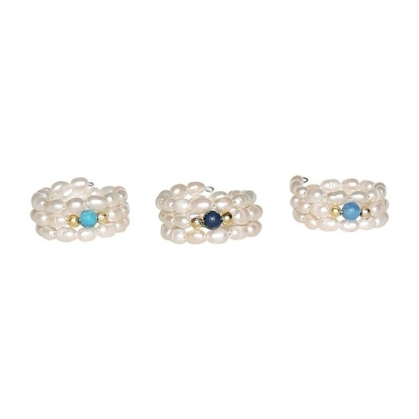 One-Size-Fits-All Set of 3 Pearl Rings with Turquoise, Jade and Lapis Stone Centers