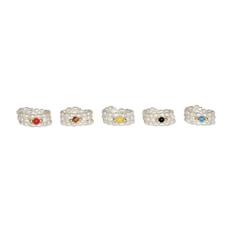 One-Size-Fits-All Set of 5 Pearl Rings with Coral and Jade Stone Centers