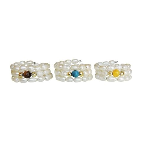One-Size-Fits-All Set of 3 Pearl Rings with Turquoise and Jade Stone Centers