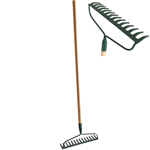 Set of 2 Garden Bow Rake Wood Handle Landscape Cultivator Gardening Tool