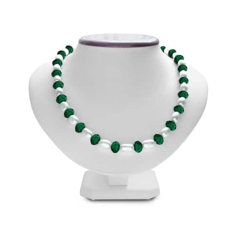 Fine Dark Green Crystal and Giant Seed Cultured Pearl Necklace