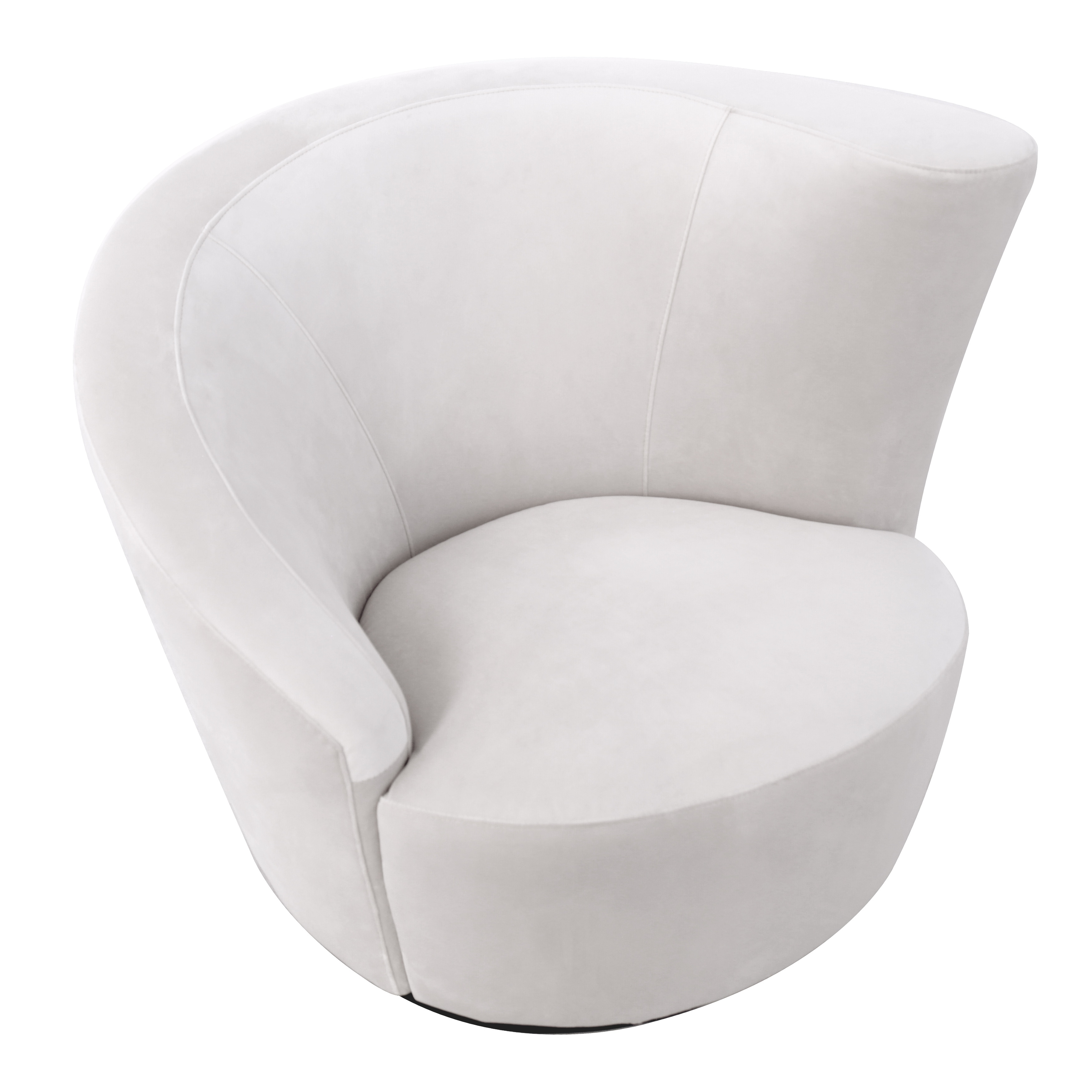 Pasargad Home Vicenza White Velvet Crescent Swivel Chair W37 Xd34 Xh30 Overstock 28458627