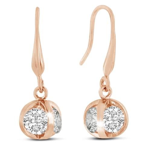 Swarovski Elements Crystal Basket Dangle Earrings, Rose Gold Overlay, 1 Inch