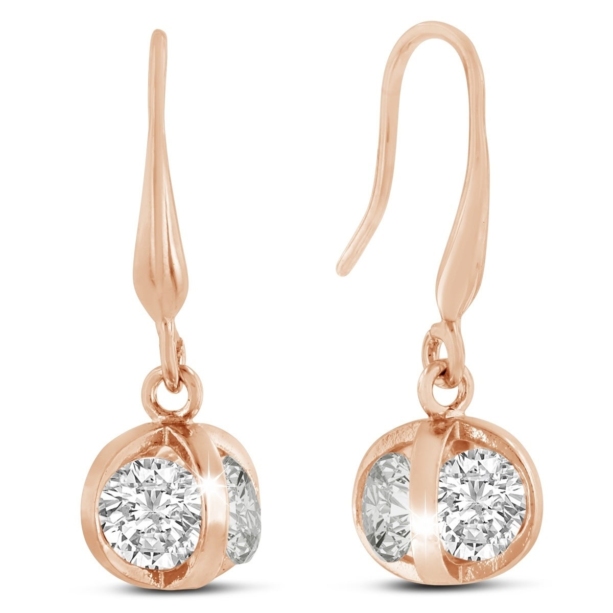 Swarovski Elements Crystal Basket Dangle Earrings Rose Gold Overlay 1 Inch