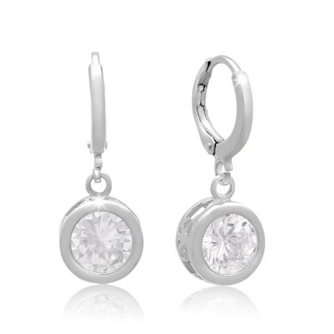Swarovski Elements Crystal Bezel Set Drop Earrings, 1 Inch