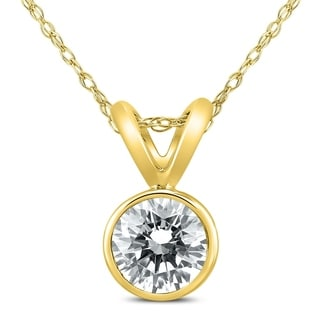 1 2 Carat Solitaire Diamond Bezel Pendant In 14K Yellow Gold
