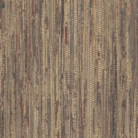 Rough Grass Wallpaper, Grasscloth in Red, Brown, Ochre, Moroccan Henna