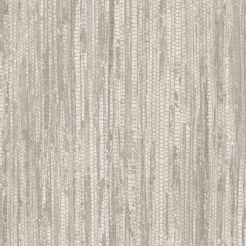 Rough Grass Wallpaper, Grasscloth in Grey, Light Grey, Script White