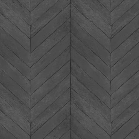 Chevron Wood Wallpaper, Wood Texture in Black, Charcoal, Pepper, Ink