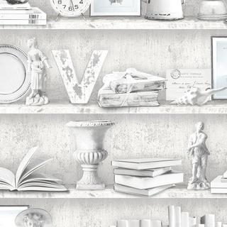 Curio Cabinet Wallpaper, Novelty in Blue, Grey, Black, Pepper
