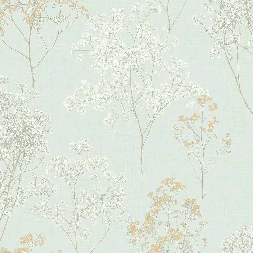 Shop Queen Anne S Lace Wallpaper Floral In Green Ochre Orange