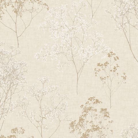 Queen Anne's Lace Wallpaper, Floral in Beige, Wheat